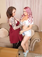 Sapphic Joy: 2 Babes And 4 Massive Tits To Play With free photos and videos on DDFNetwork.com