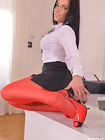 Kinky Secretary - Hot Babe in Red Stockings Masturbates On Desk free photos and videos on DDFNetwork.com