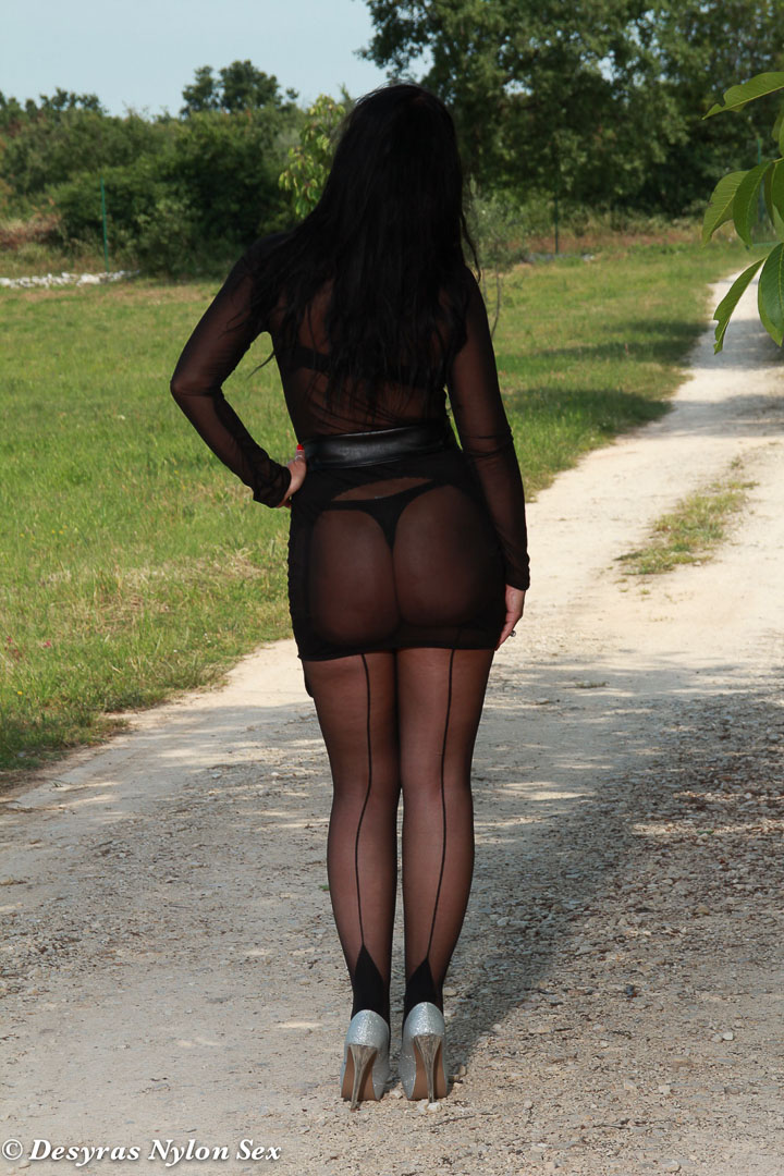 Sex in park with stockings think